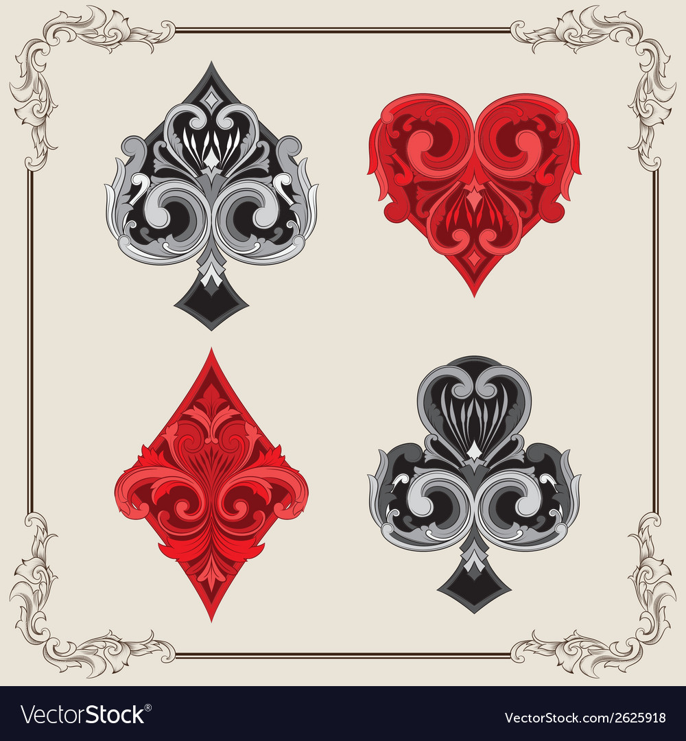 Playing card vintage ornamental vector | Price: 1 Credit (USD $1)