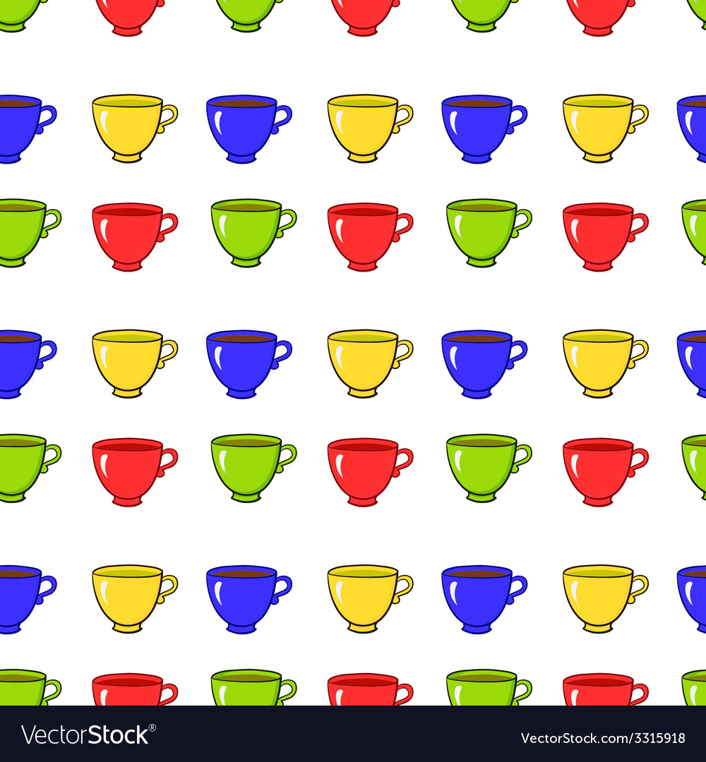Seamless pattern with colorful tea mugs vector | Price: 1 Credit (USD $1)