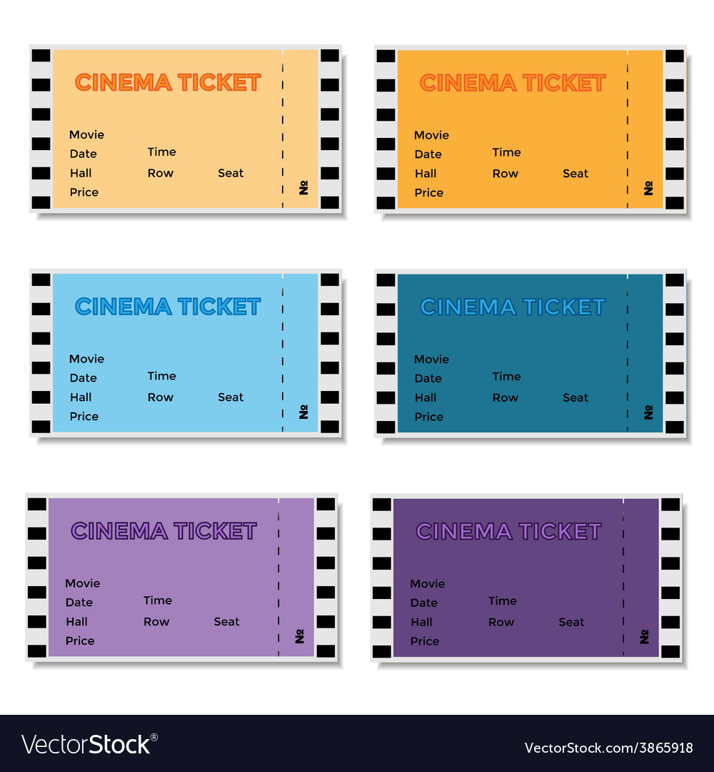Set of colored cinema ticket vector | Price: 1 Credit (USD $1)
