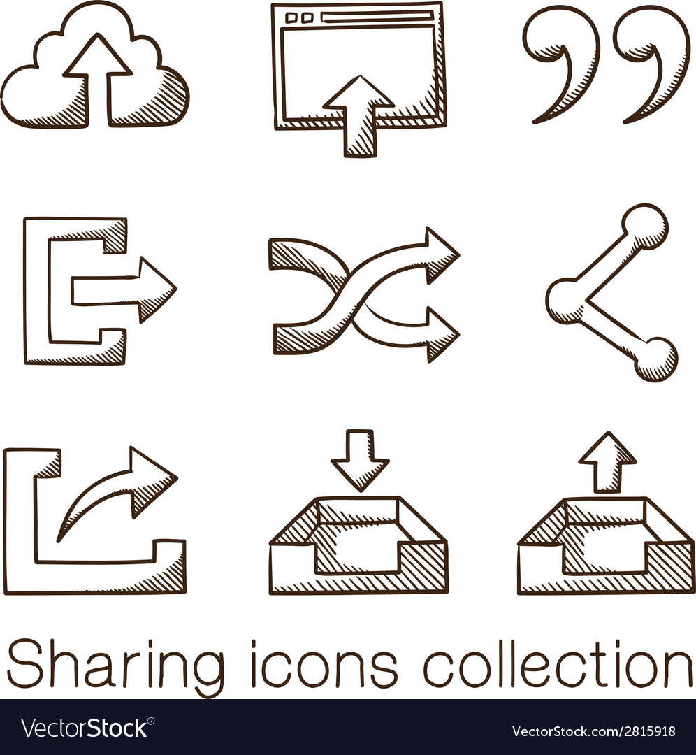 Sharing icons collection vector | Price: 1 Credit (USD $1)