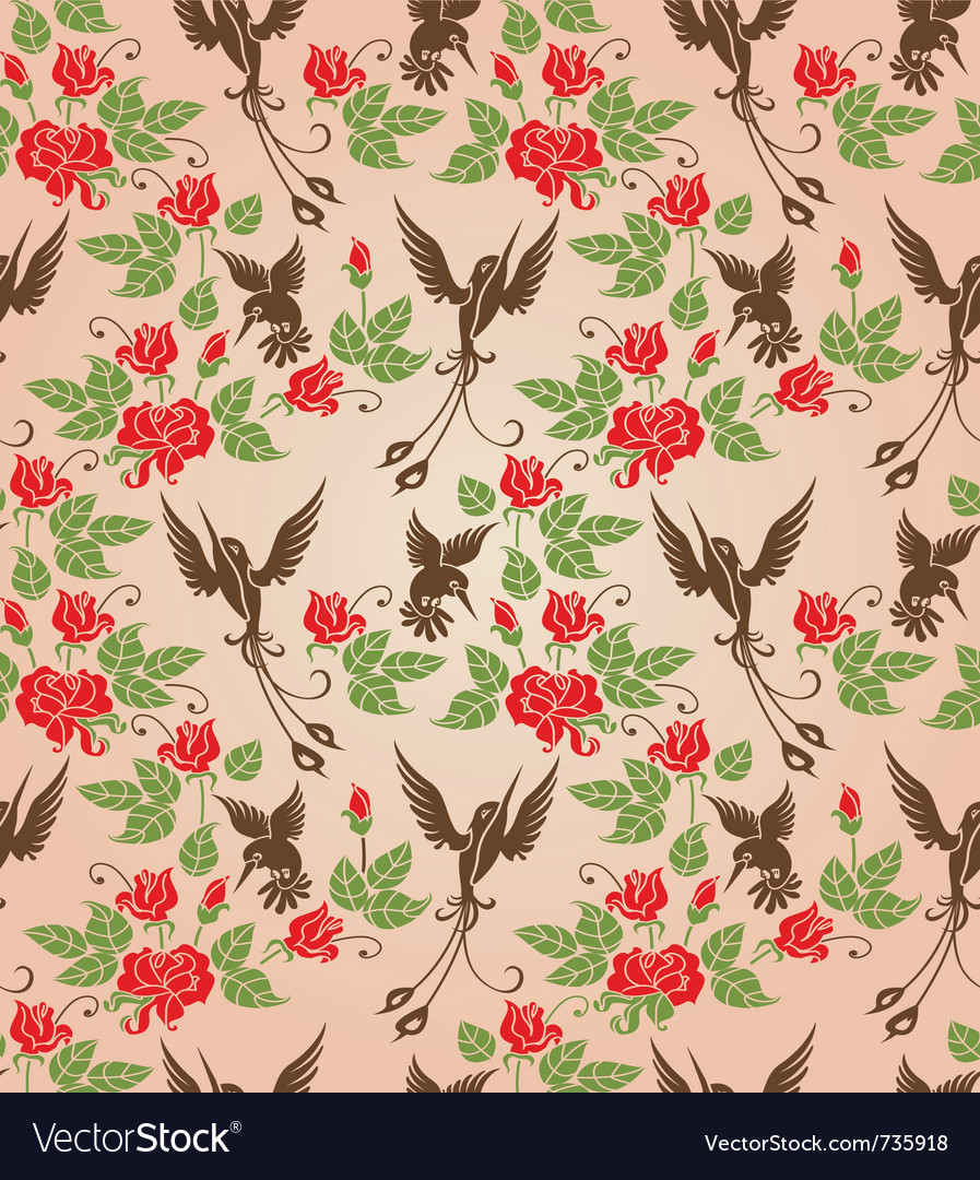 Shrub roses and birds vector | Price: 1 Credit (USD $1)