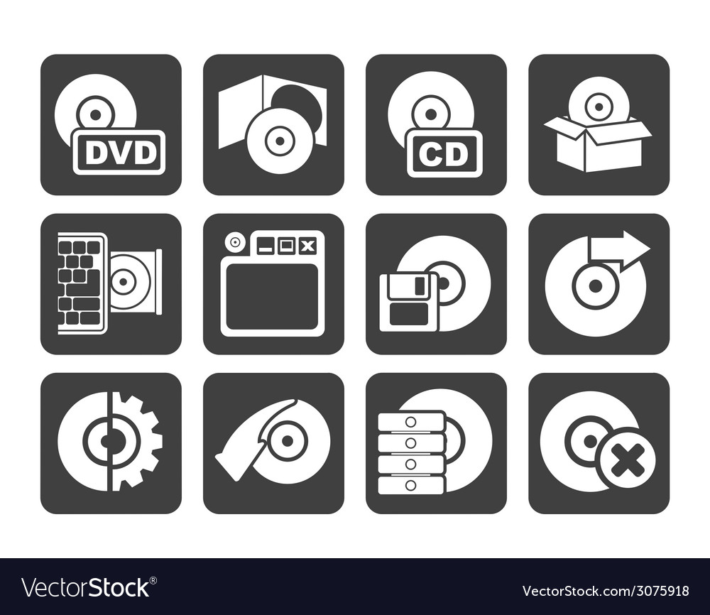 Silhouette computer media and disk icons vector | Price: 1 Credit (USD $1)