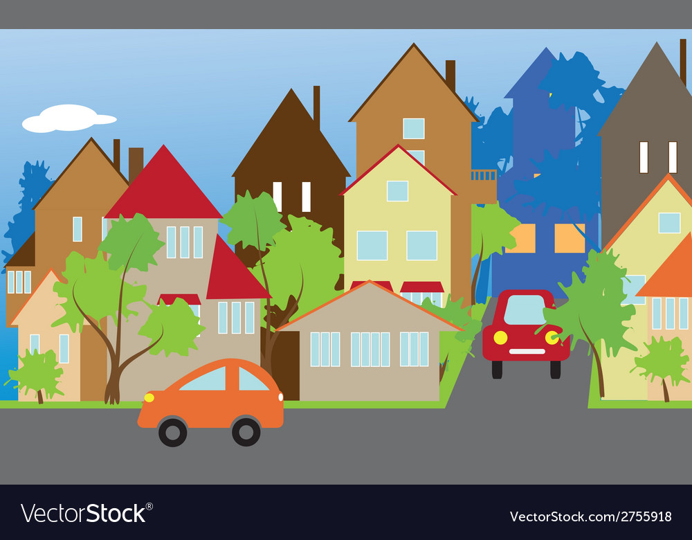 The street of a small town vector | Price: 1 Credit (USD $1)