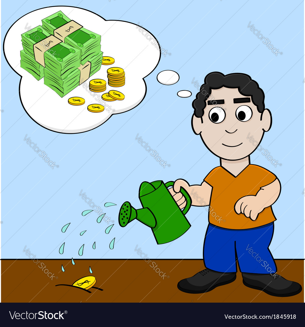 Watering money for it to grow vector | Price: 1 Credit (USD $1)