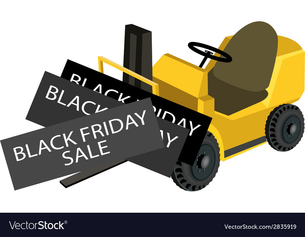 A forklift truck loading black friday card vector | Price: 1 Credit (USD $1)
