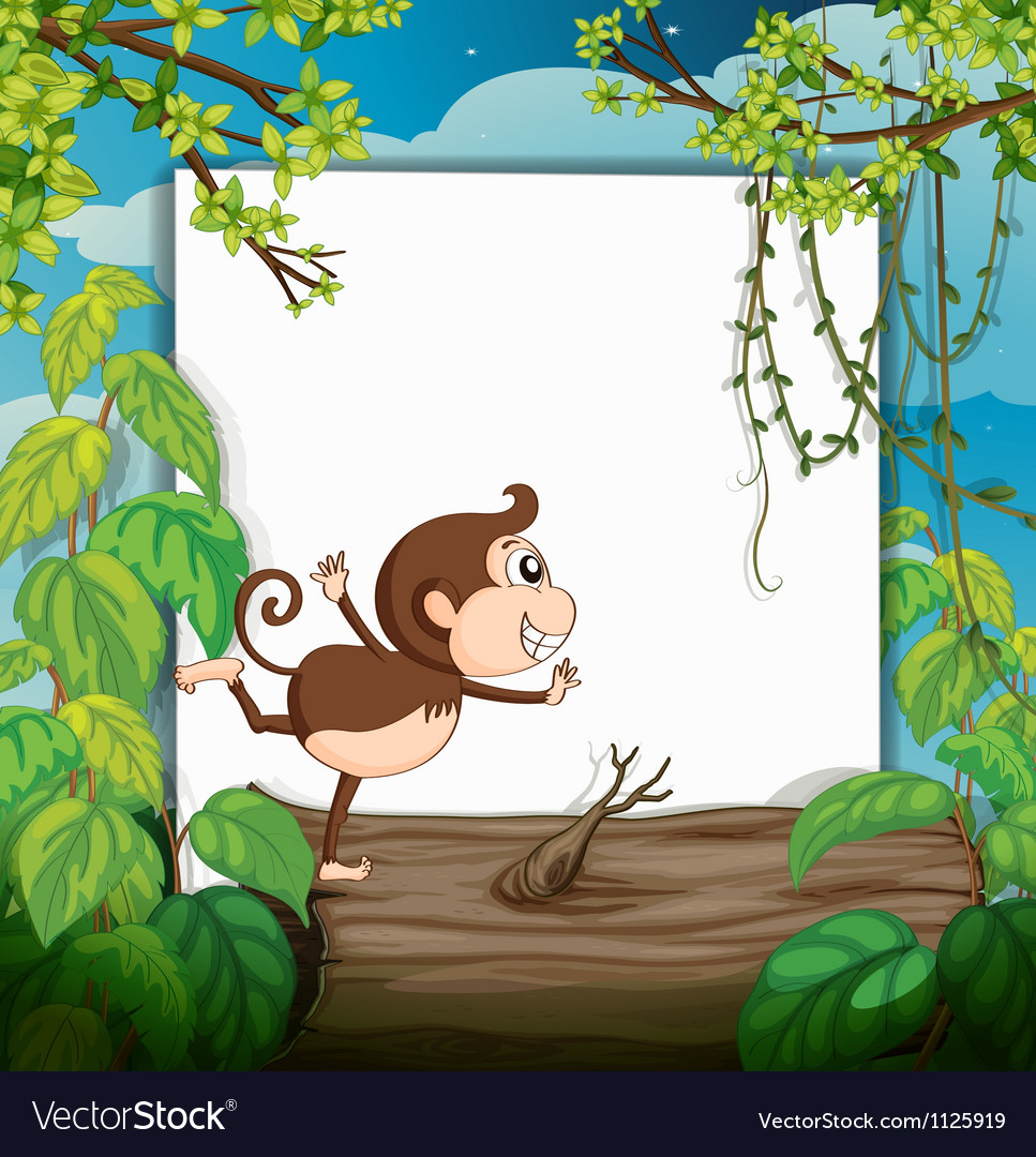 A smiling monkey and a white board vector | Price: 1 Credit (USD $1)