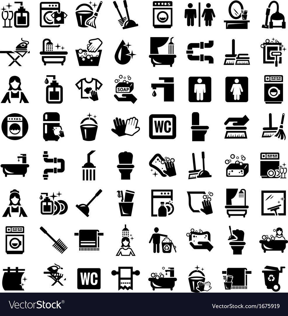 Big cleaning icons set vector | Price: 1 Credit (USD $1)