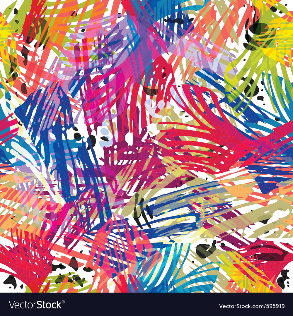 Color paints seamless pattern vector | Price: 1 Credit (USD $1)