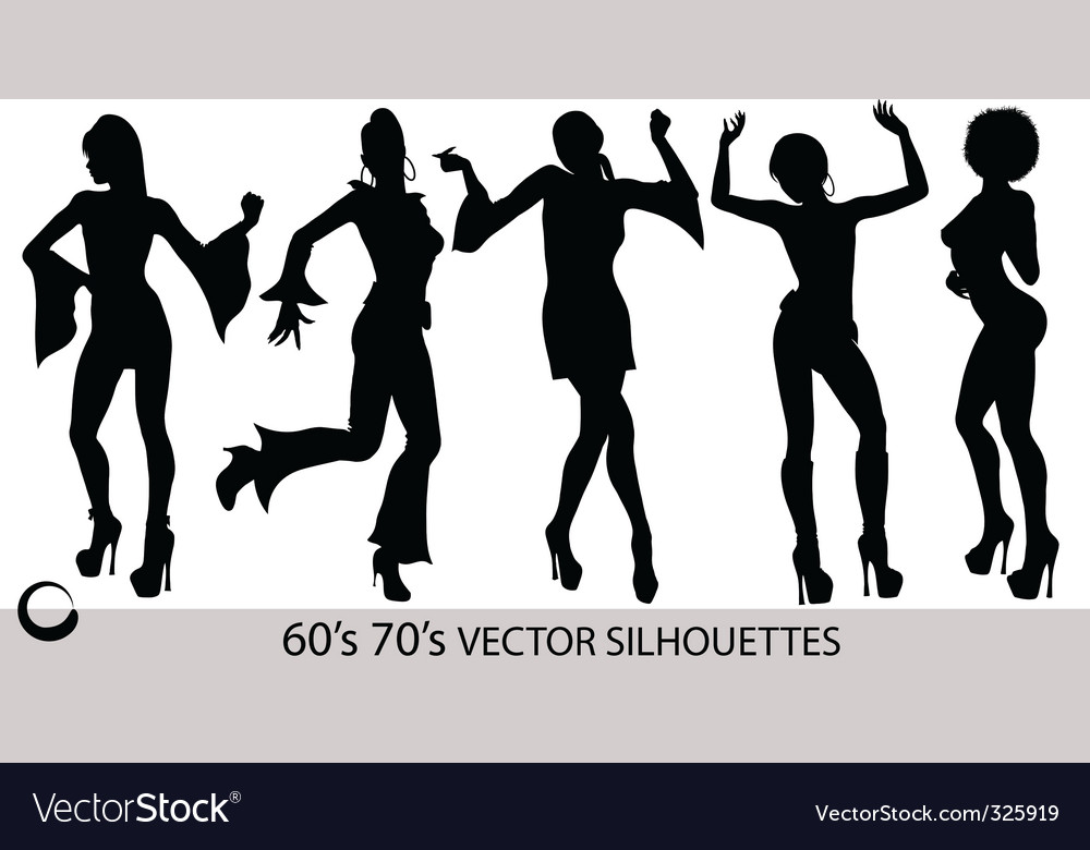 Dancing girl silhouettes vector | Price: 1 Credit (USD $1)