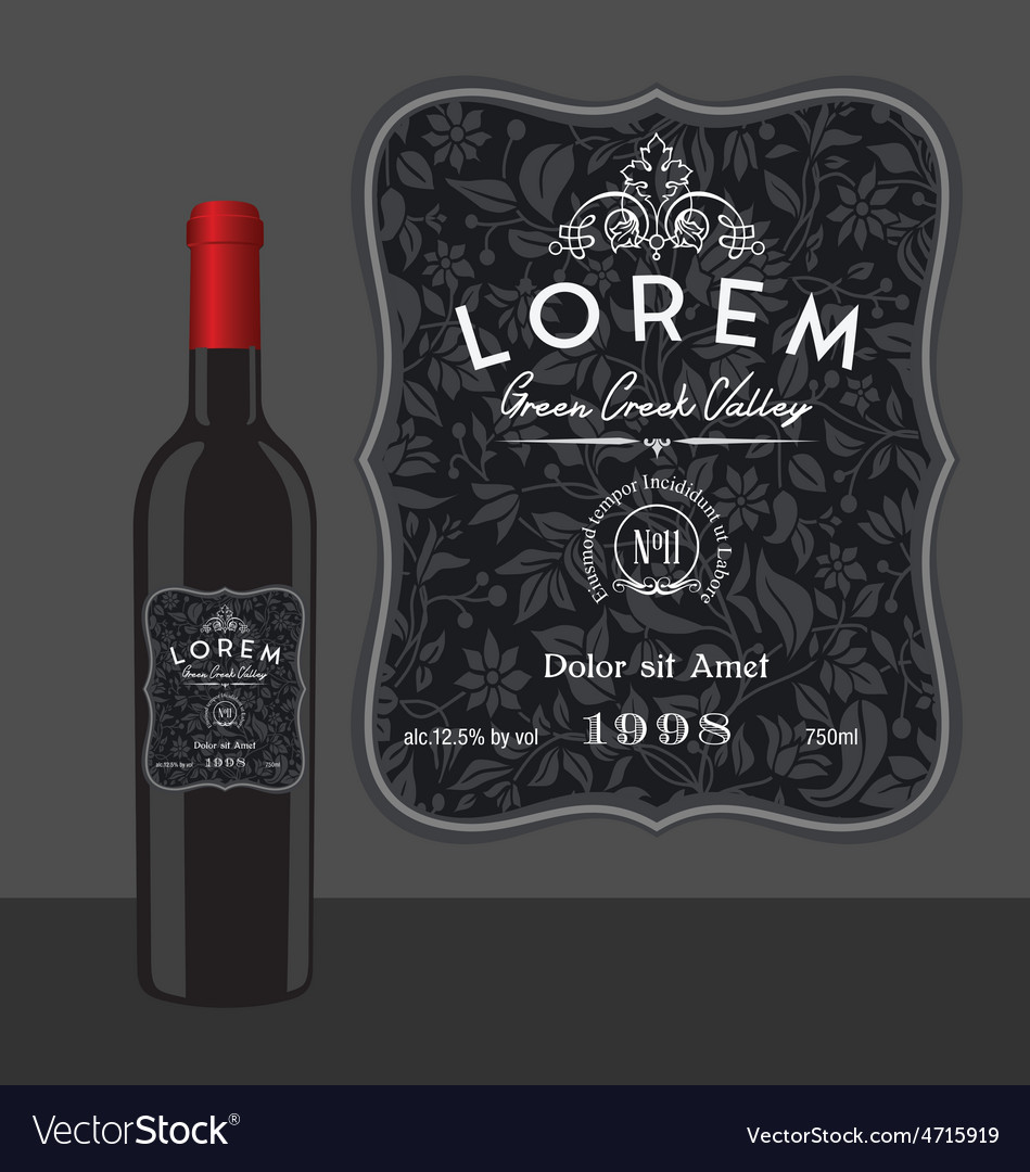 Decorative wine bottle label template vector | Price: 1 Credit (USD $1)