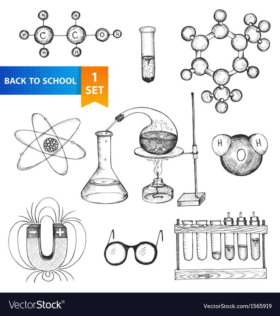 Education chemistry and physics set vector | Price: 1 Credit (USD $1)