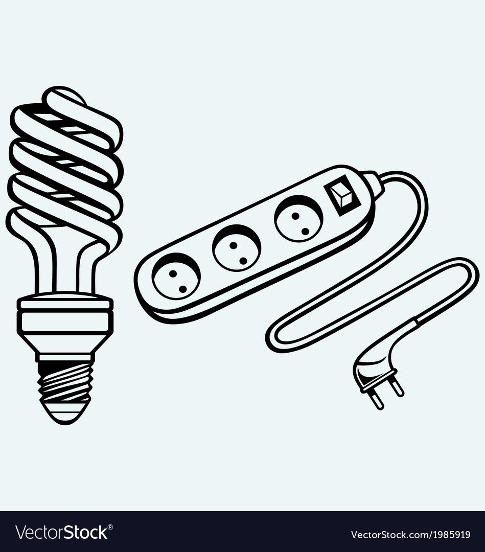 Energy saving light bulb and power surge vector | Price: 1 Credit (USD $1)