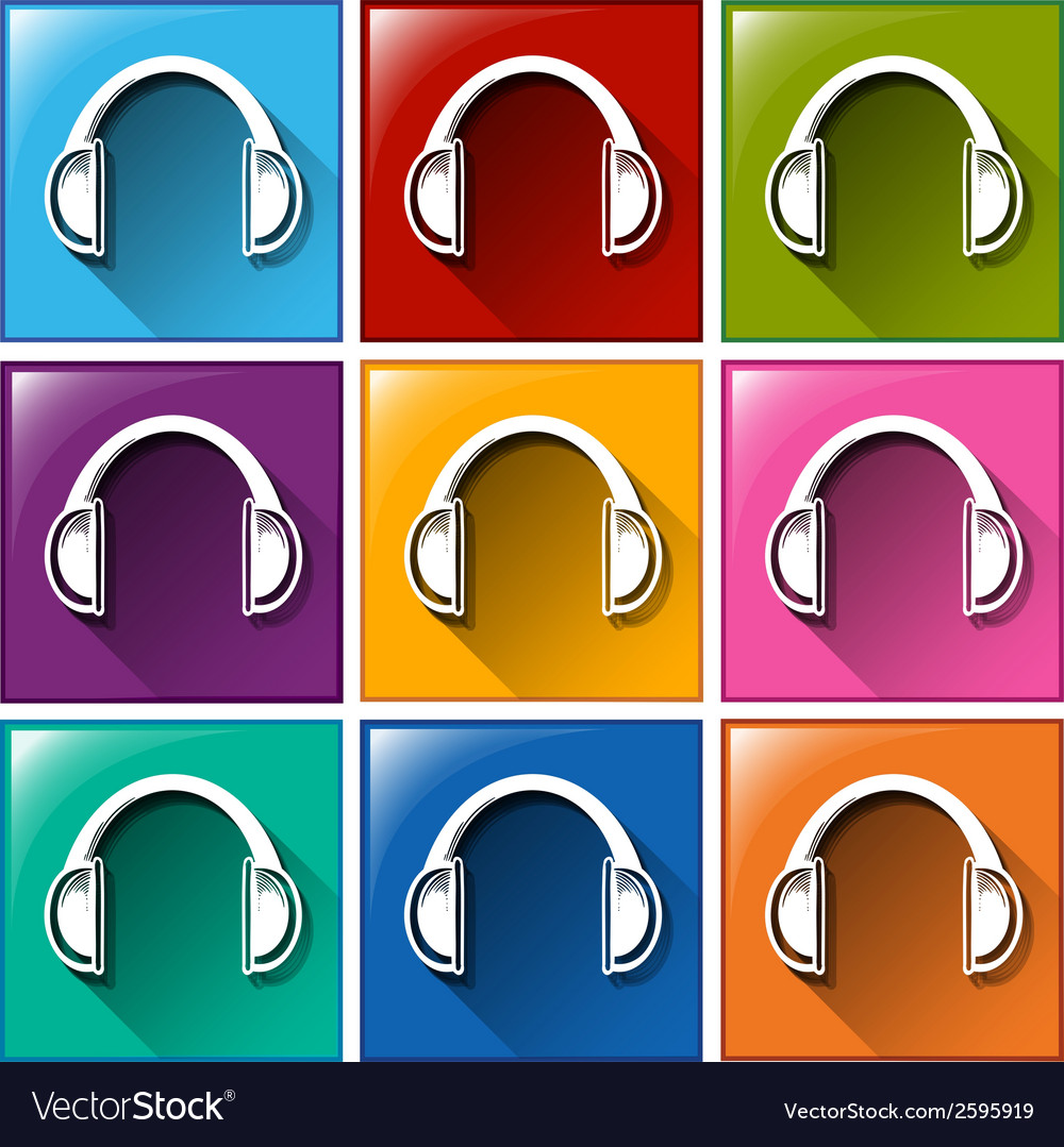Headset icons vector | Price: 1 Credit (USD $1)