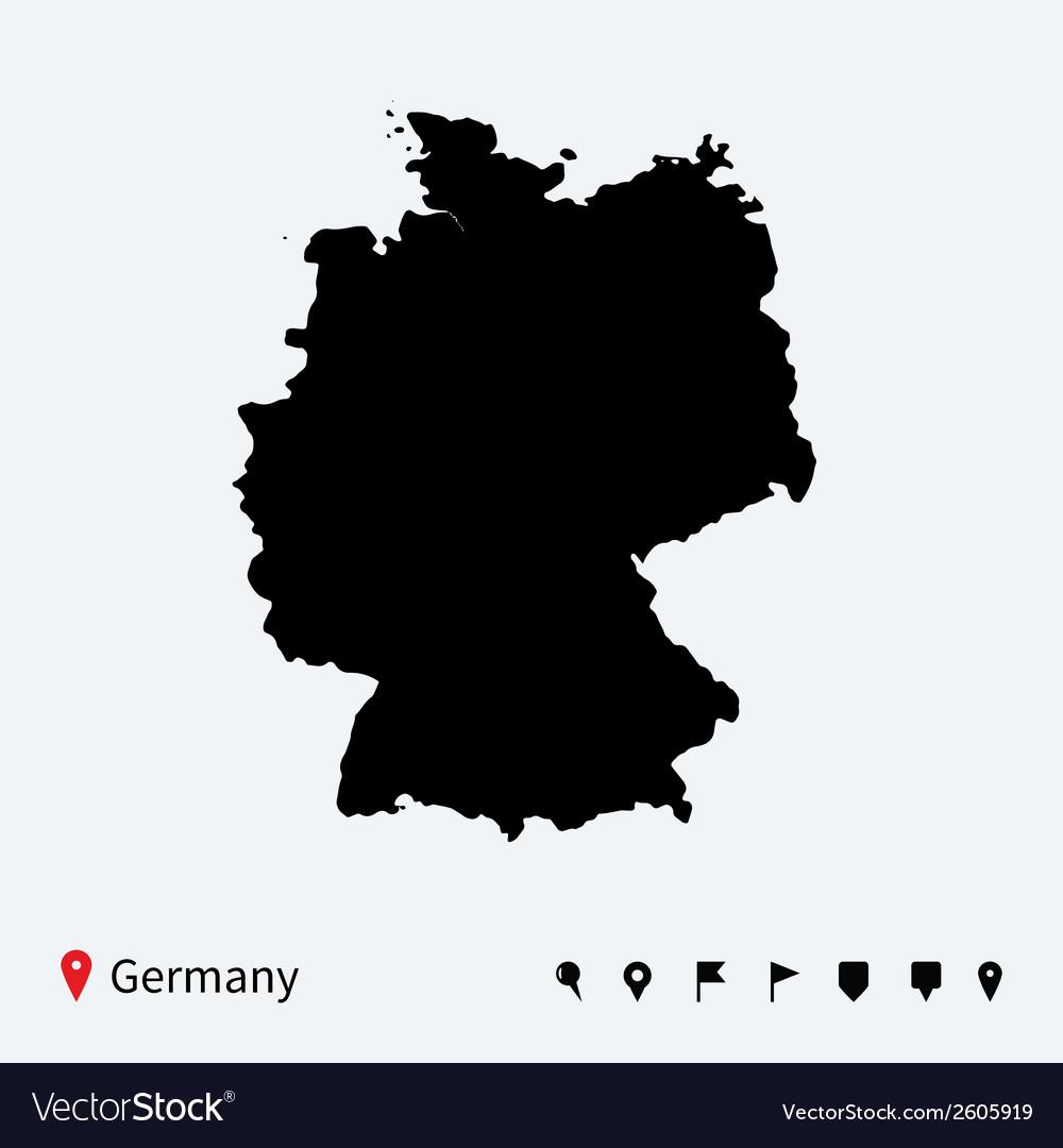 High detailed map of germany with navigation pins vector | Price: 1 Credit (USD $1)