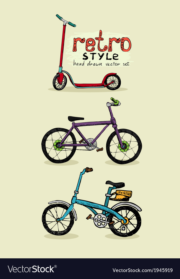 Hipster style bike and scooter vector   Price: 1 Credit (USD $1)