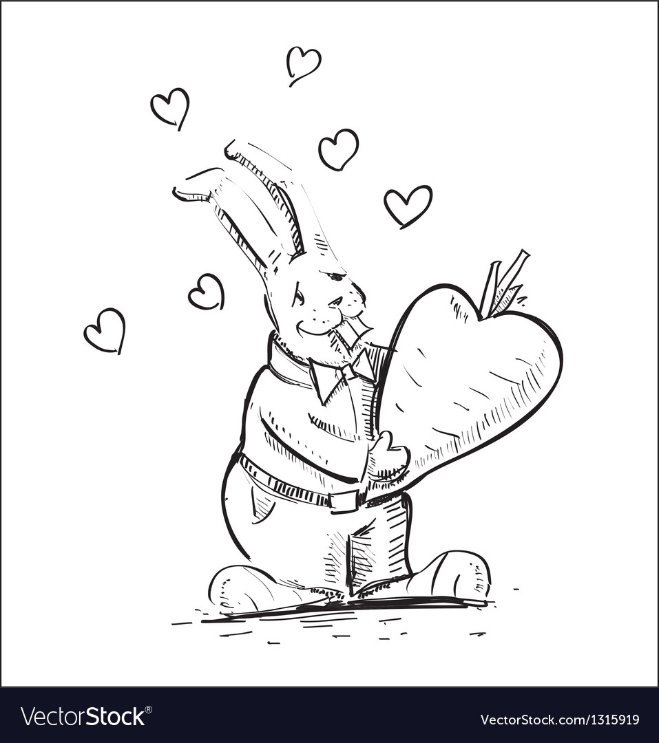In love rabbit holding heart shaped carrot vector | Price: 1 Credit (USD $1)