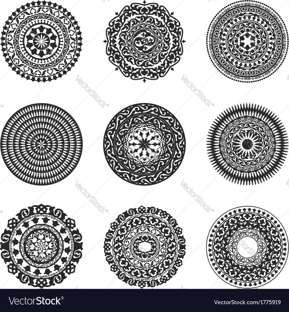 Oriental radial patterns set vector | Price: 1 Credit (USD $1)