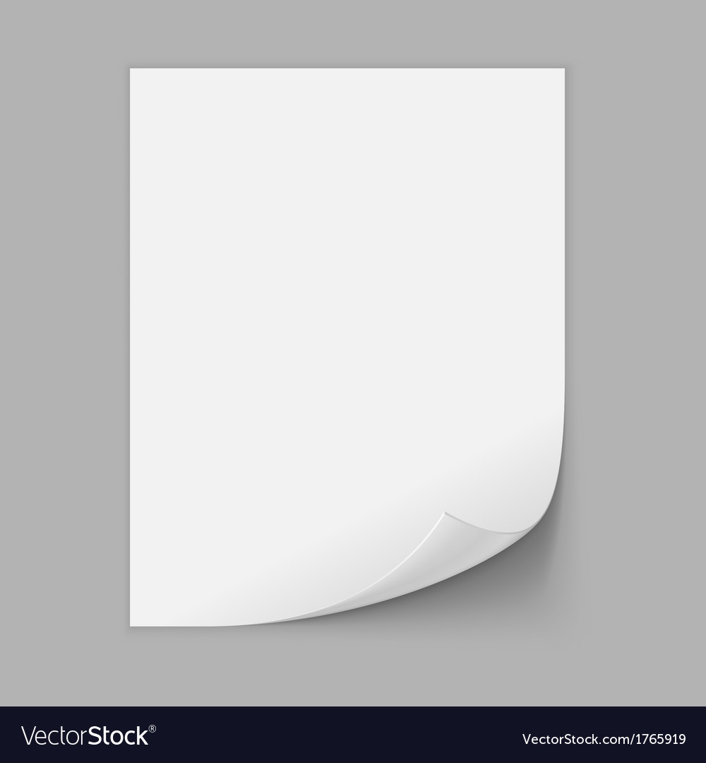 Paper sheet with curled corner vector | Price: 1 Credit (USD $1)