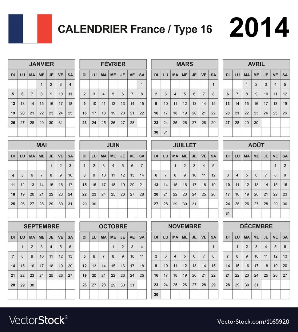 Calendar 2014 france type 16 vector | Price: 1 Credit (USD $1)