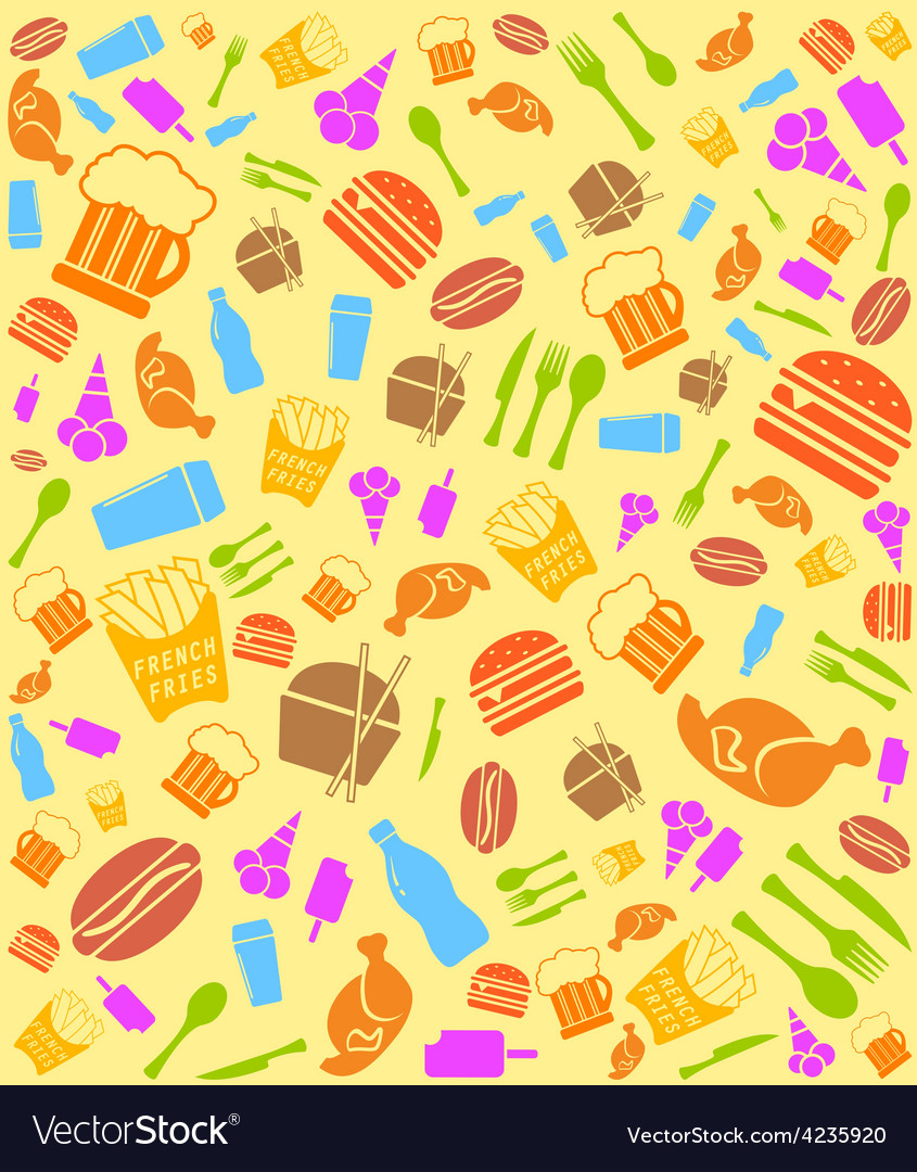 Colorful fast food bakground vector   Price: 1 Credit (USD $1)