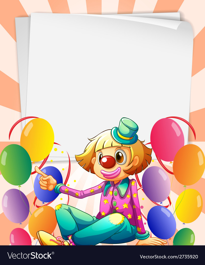 Empty bondpapers with a clown and balloons vector | Price: 1 Credit (USD $1)
