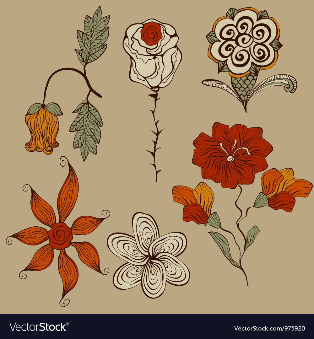 Floral bizarre design elements vector | Price: 1 Credit (USD $1)