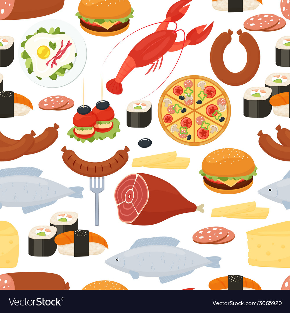 Food seamless pattern in flat style vector | Price: 1 Credit (USD $1)