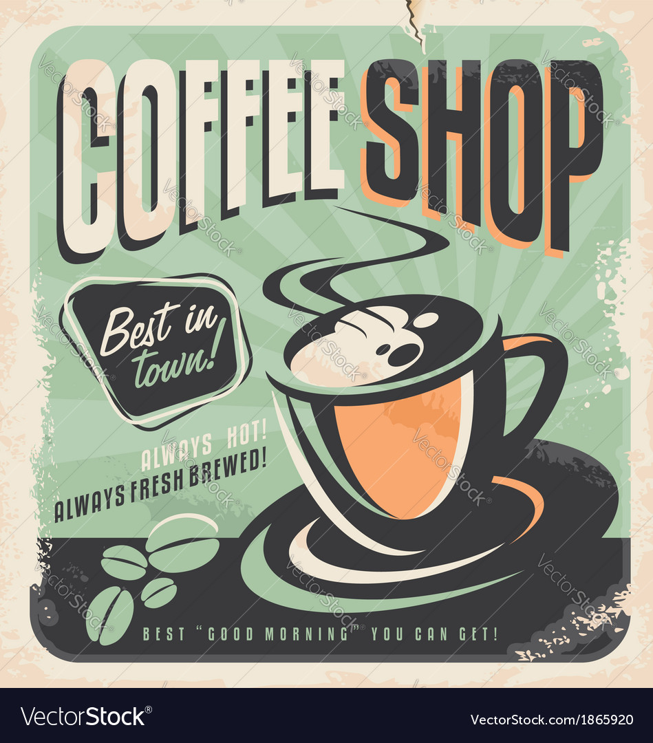 Retro poster for coffee shop vector | Price: 1 Credit (USD $1)