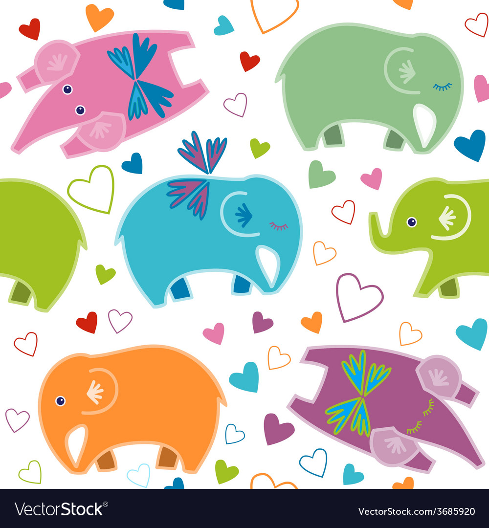 Seamless pattern with elephants vector | Price: 1 Credit (USD $1)