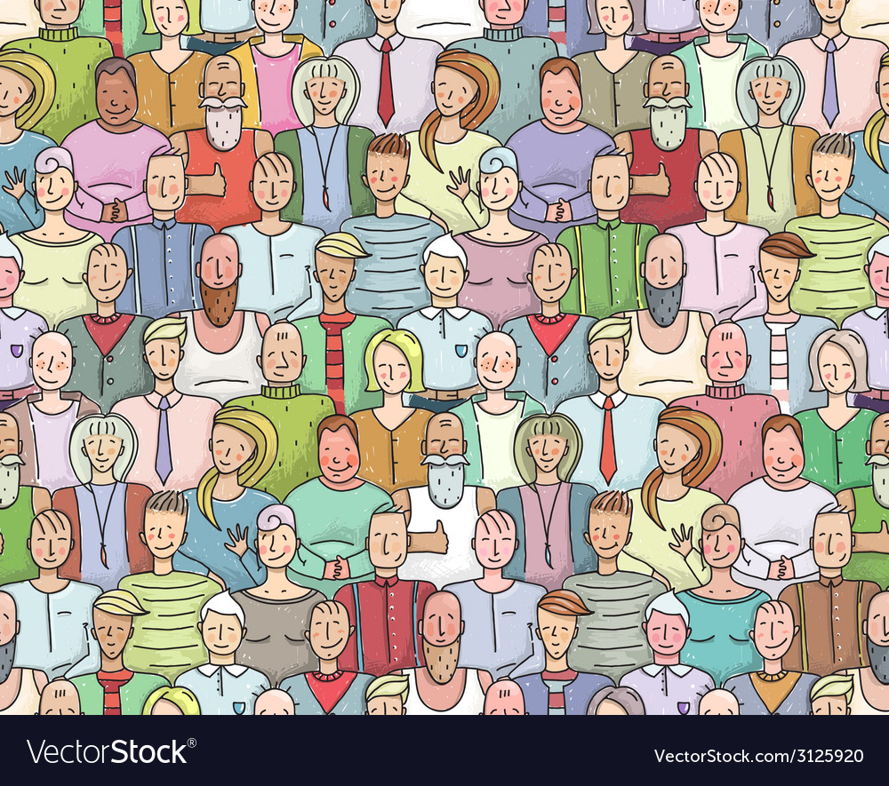 Smiling people crowd collective portrait seamless vector | Price: 1 Credit (USD $1)