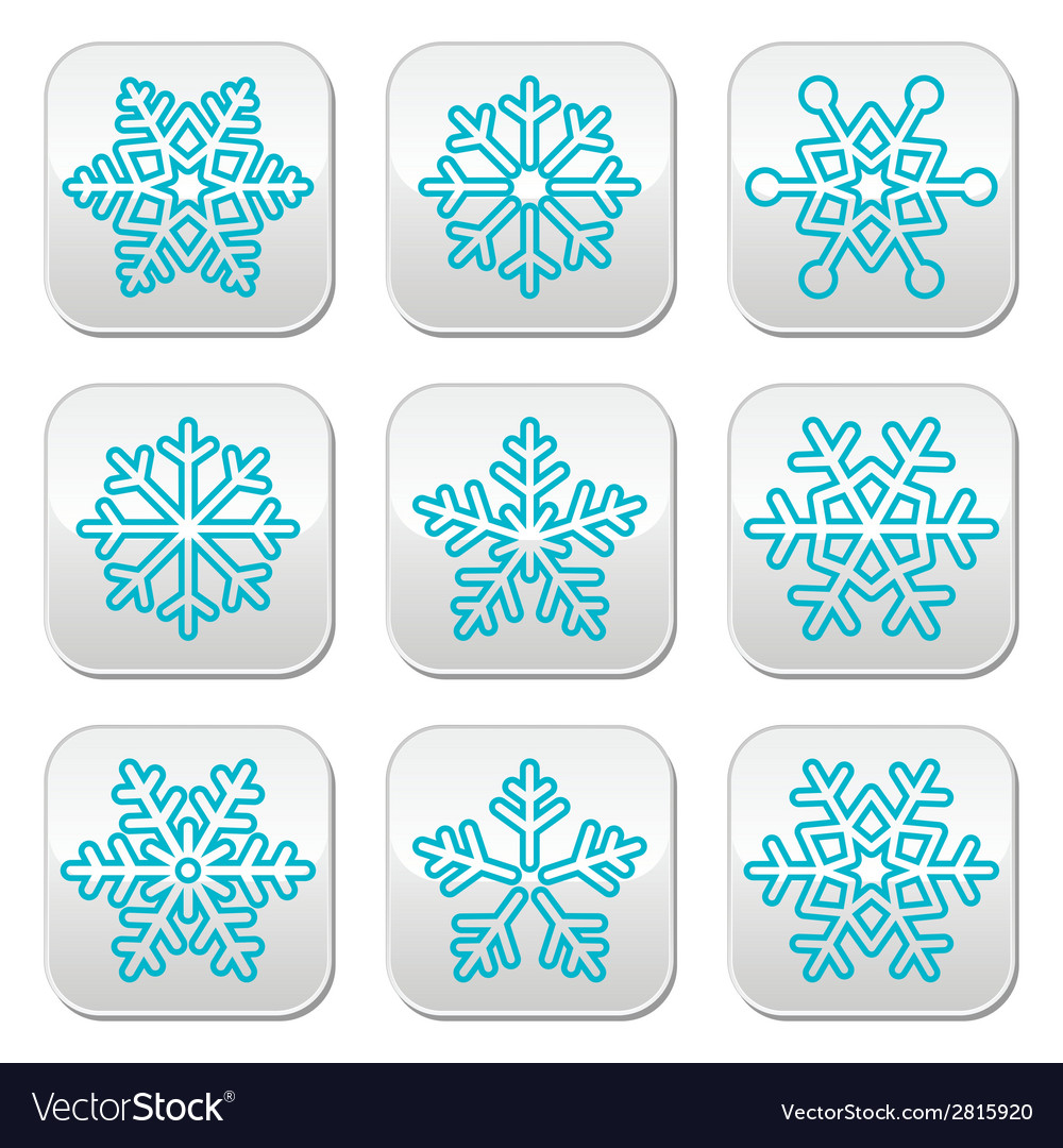 Snowflakes winter blue decoration buttons set vector | Price: 1 Credit (USD $1)