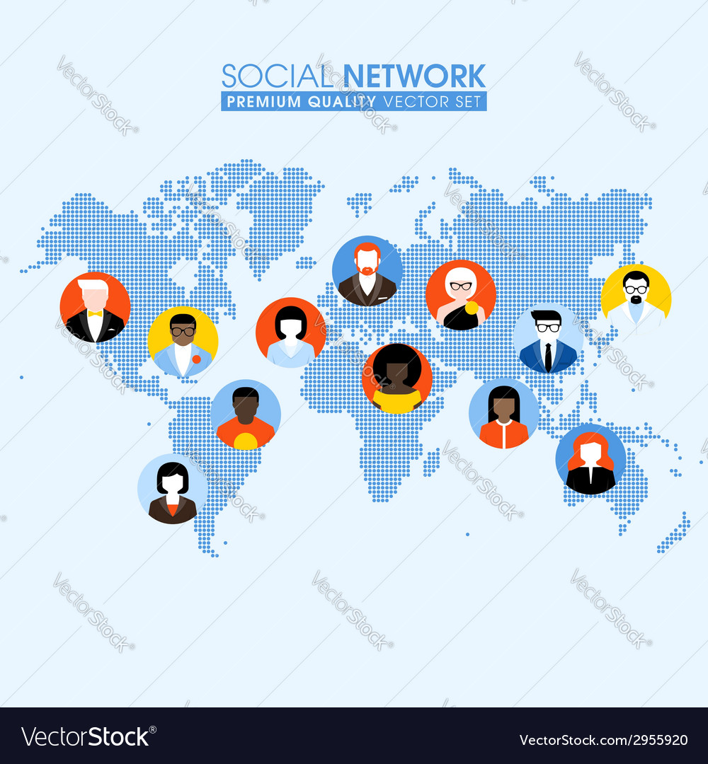 Social network flat concept with people on map vector | Price: 1 Credit (USD $1)