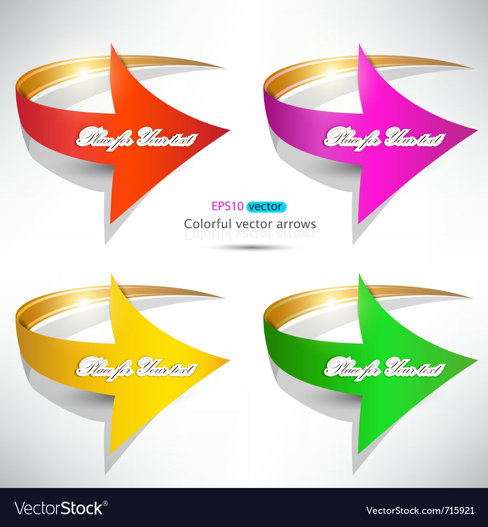 Colorful arrows on white background vector | Price: 1 Credit (USD $1)
