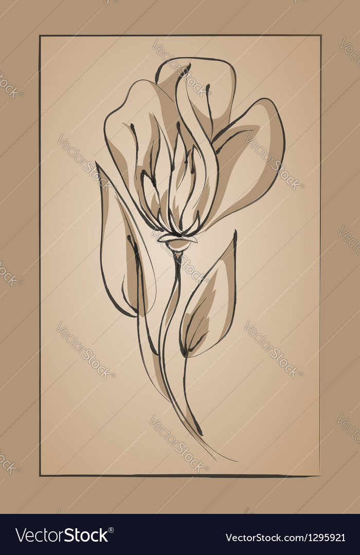 Flower on a beige background imitation ink vector | Price: 1 Credit (USD $1)