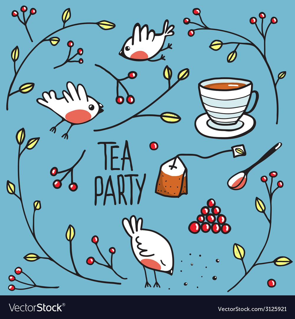 Garden tea party with birds twigs and berries vector | Price: 1 Credit (USD $1)