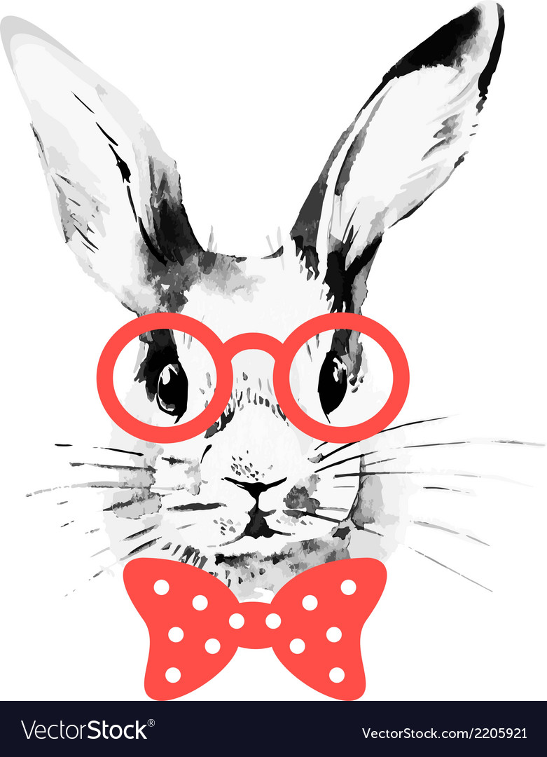 Hipster rabbit hand drawn watercolor sketch vector | Price: 1 Credit (USD $1)