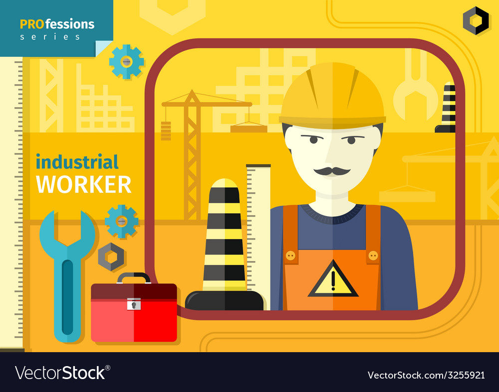 Industrial worker in workwear and helmet vector | Price: 1 Credit (USD $1)