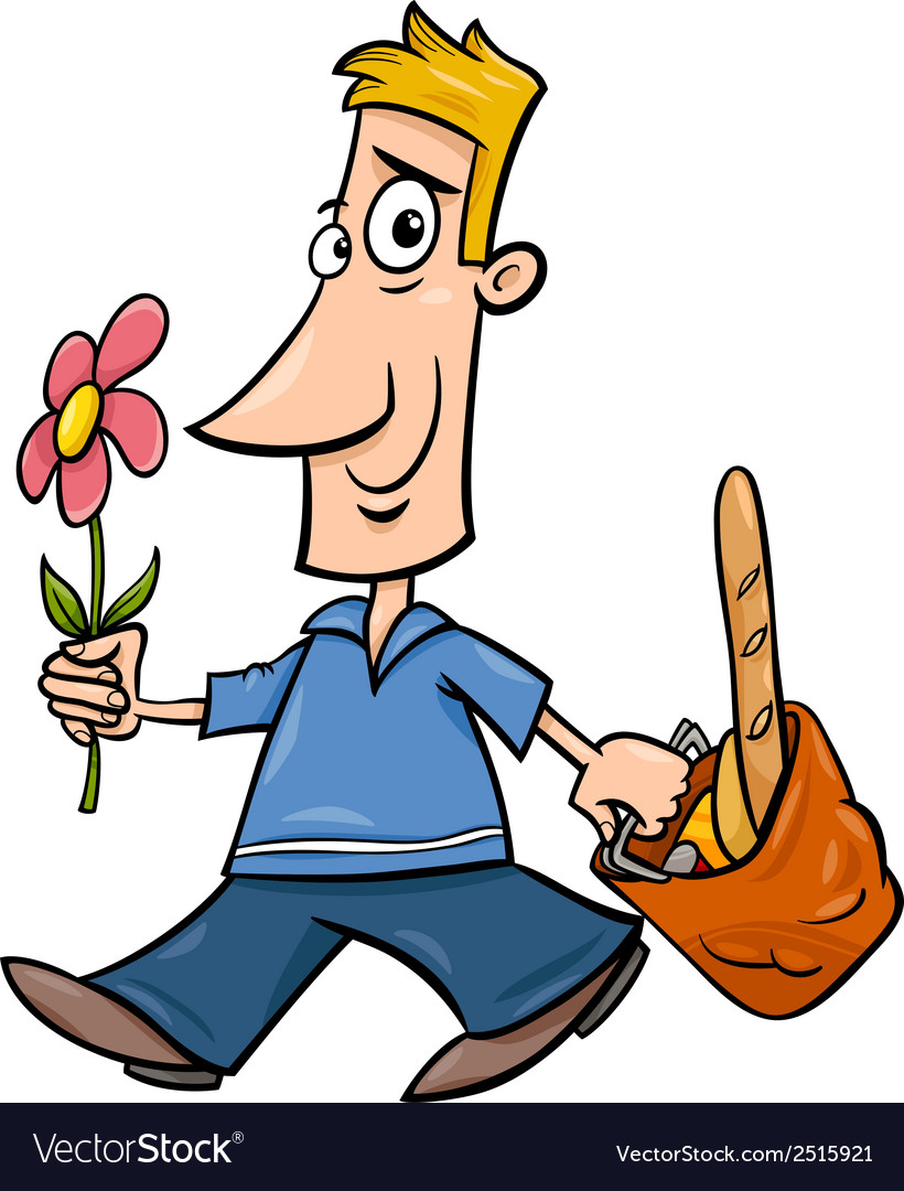 Man with flower cartoon vector | Price: 1 Credit (USD $1)