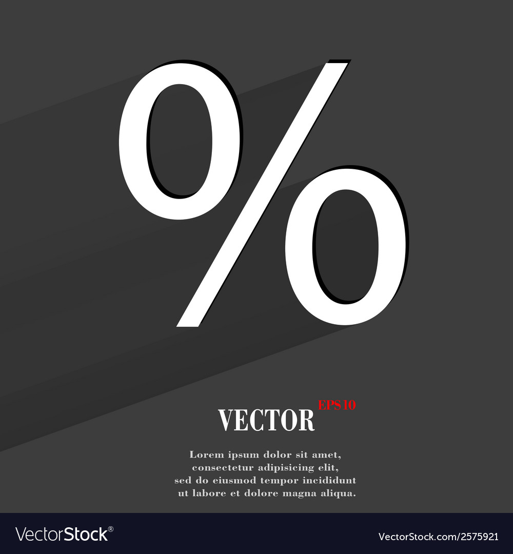 Percent flat modern web button with long shadow vector | Price: 1 Credit (USD $1)