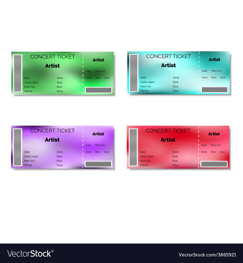 Set of color blurred concert tickets vector | Price: 1 Credit (USD $1)