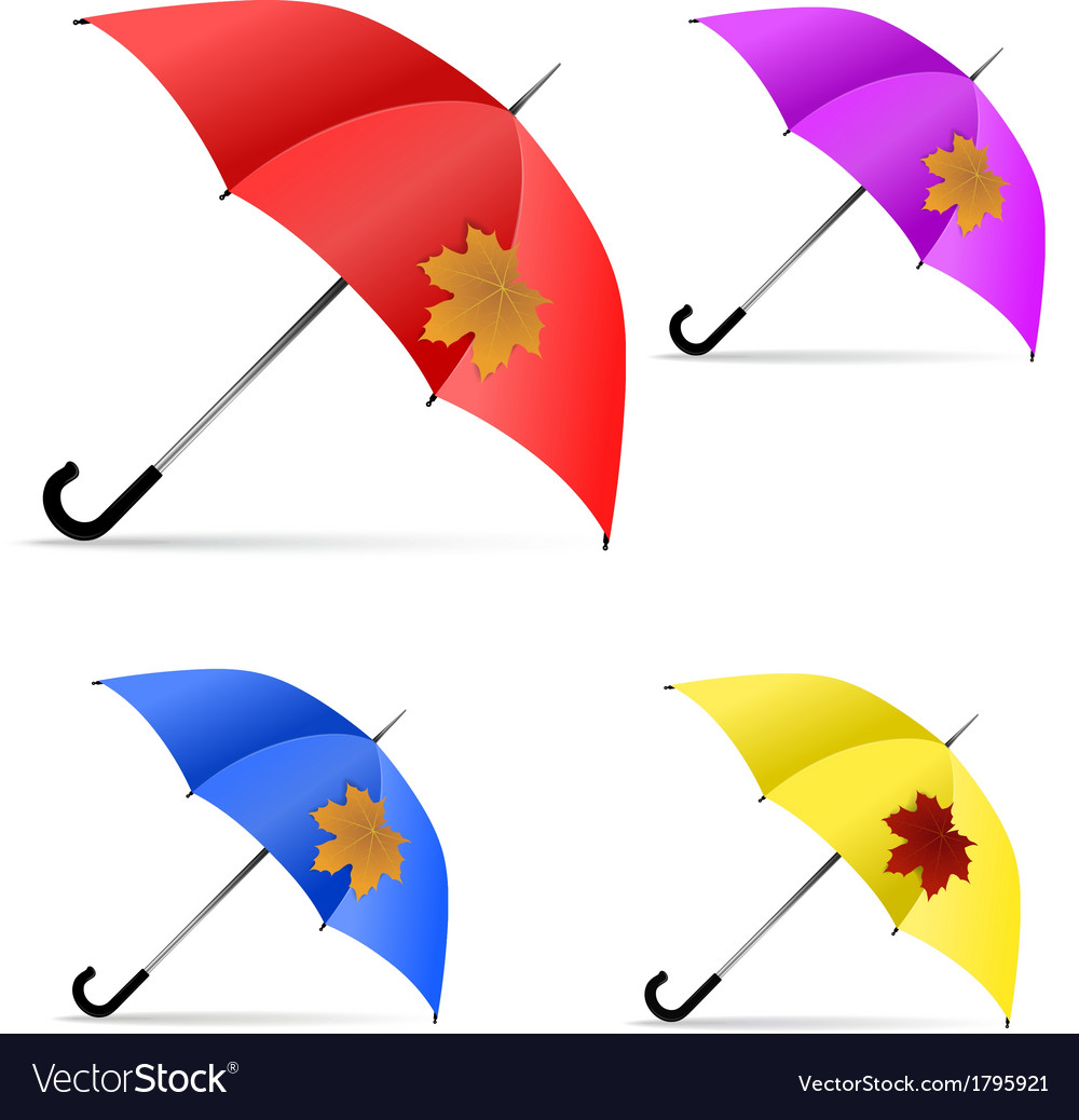 Set of umbrellas with maple leaf vector | Price: 1 Credit (USD $1)