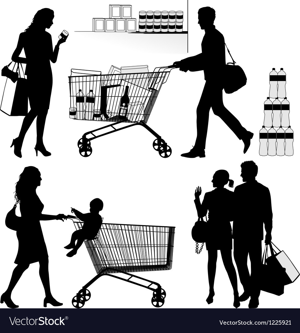 Several people are shopping vector | Price: 1 Credit (USD $1)