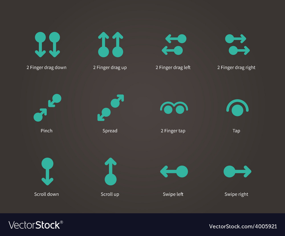Touch screen gesture icons vector | Price: 1 Credit (USD $1)
