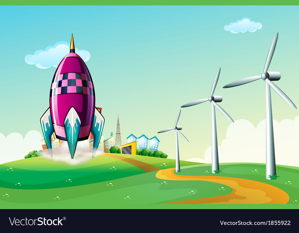 A spaceship near the windmills vector | Price: 3 Credit (USD $3)