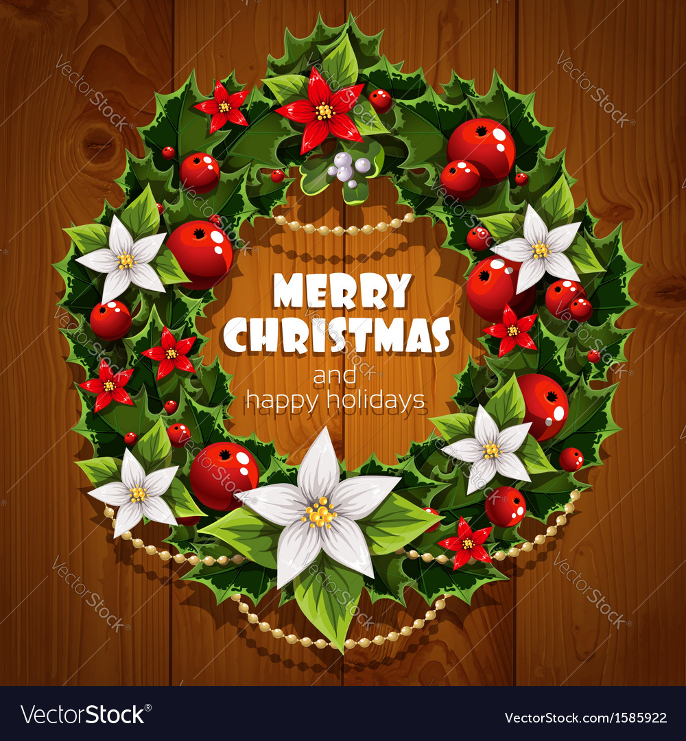 Banner with christmas wreath and wish happy vector | Price: 3 Credit (USD $3)
