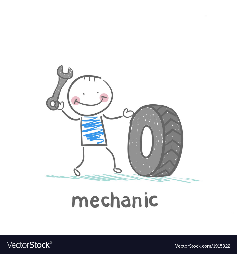 Mechanic holding a wrench and a wheel vector | Price: 1 Credit (USD $1)