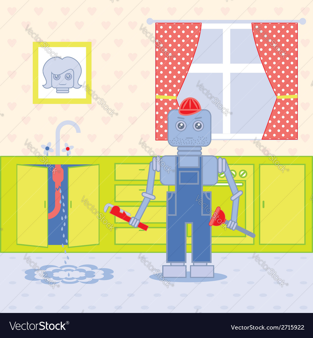Plumber robot1 vector | Price: 1 Credit (USD $1)