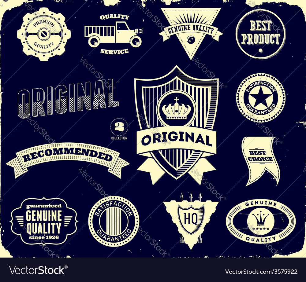 Vintage labels on the black collection 2 vector | Price: 1 Credit (USD $1)