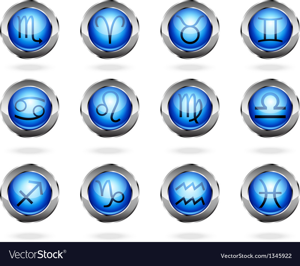 Zodiac astrology signs button set vector | Price: 1 Credit (USD $1)