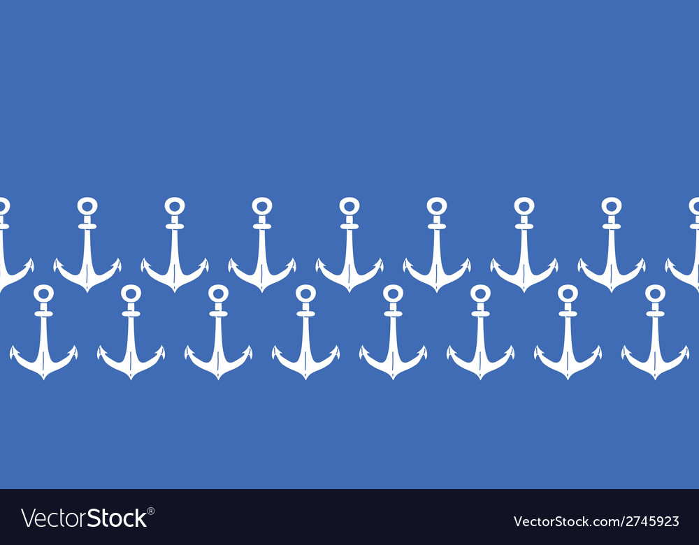 Anchors blue and white horizontal border seamless vector | Price: 1 Credit (USD $1)